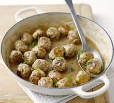 Classic Swedish Meatballs With Minced Pork, Eggs, Onions, Bread Crumbs, Dill, Olive Oil, Plain Flour, Beef Stock