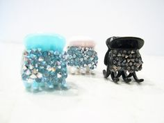 Small mini hair claw clips with crystal by LindasAccessories