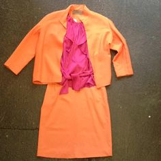2 piece vintage Genny made in Italy sherbet jacket & skirt and purple silk Rebecca Taylor blouse www.thethrifters.net