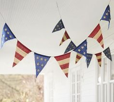 Fourth of July Burlap Party Banner #potterybarn