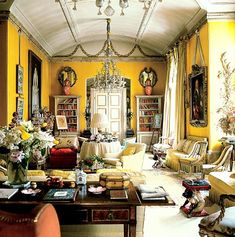 Perhaps it all began here, in Nancy Lancaster's London drawing room at 22 Avery Row. Though its design dates after Monticello the world of design didn't know of its original chrome yellow walls until recently. It may be fair to maintain that Nancy Lancaster, who brought the English country house-style to interior design and decoration, also encouraged room with a sunny disposition.