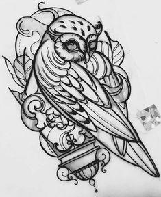 Эскиз татуировки с совой