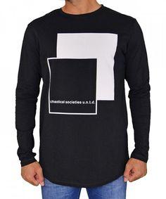 cc5fd233fe7b Ανδρική μακρυμάνικη μπλούζα με στάμπα μαύρη 06310  torouxo  αντρικαρουχα