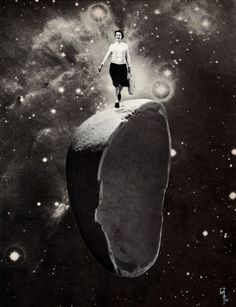Wallace Polsom, The Secret paper collage, x cm Collage Art, Collages, Riding Helmets, Deep Space, Black And White, Paper, Artists, Outer Space, Black N White