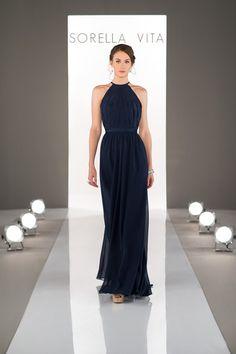 Navy blue high-neck bridesmaid dress with pleated, chiffon illusion-sweetheart neckline and floor-length chiffon skirt {Dress by Sorella Vita by @essensedesigns}