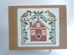 Sparrows hand stitched card by HMCrafters on Etsy