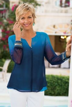 Pretty Cuff Shirt & Cami - Sheer Ombre Georgette Shirt, Long Sleeve Georgette Shirt | Soft Surroundings