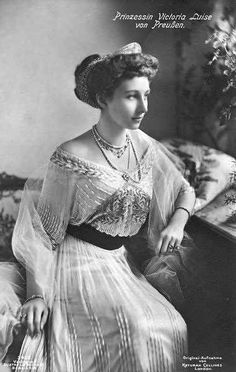 Victoria Louise of Prussia (13 September 1892 – 11 December 1980) was the only daughter and the last child of German Emperor Wilhelm II and Empress Augusta Victoria. She was their last surviving child. Princess Victoria Louise is the maternal grandmother of Queen Sophia of Spain and the former King Constantine II of the Hellenes. She was the Duchess of Brunswick by marriage.