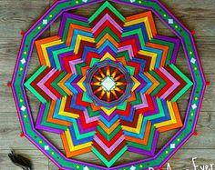 """Mandala 41 pollici / 104cm """"Caleidoscopio"""". Filato obereg Ojo de Dios (l'occhio di Dio), arredamento etnico, tessitura, attaccatura di parete, arte della parete, regalo, arte di fibra."""