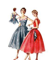 50s Rockabilly Dress Vintage Pattern Simplicity by finickyfinds