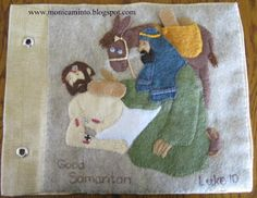 Bible story of the Good Samaritan with snap band-aids for the injured man's sores