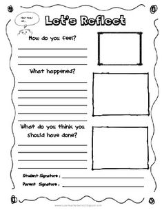 Classroom management Reflection Sheet for Behavior Management Self reflection is a skill that children of all ages need to develop. This is a skill that will help k. Classroom Behavior Management, Behaviour Management, Coping Skills, Social Skills, Restorative Justice, Behavior Interventions, Renz, School Social Work, Positive Behavior
