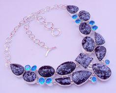 free shipping F-121 Snowflake jasper-Blue Topaz .925 Silver Handmade Necklace Jewelry by SILVERHUT on Etsy