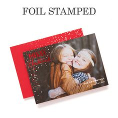 'Scintillating Snowfall' Foil Stamped #Holiday Cards by Petite Alma for Tiny Prints in Winterberry Red