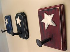 This wall-hook uses a play on the American flag, a patriotic decoration for any wall.