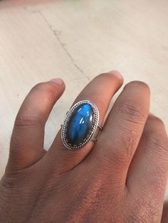 Labradorite Jewellery – Labradorite Ring, 925 Silver Ring, Large Ring – a unique product by Midas-Jewelry on DaWanda