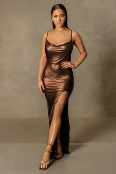Shop the Corinne Cowl Neck Side Split Maxi Dress - Chocolate at MESHKI. Browse the full range of DRESSES at MESHKI, with free shipping on all AU orders $50+ and express intl shipping. Side Split, Overall Dress, Staple Pieces, Summer Collection, Cowl Neck, Bodycon Dress, Formal Dresses, Chocolate, How To Wear