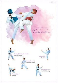 3. Traditional Martial Arts_Taekwondo  Taekwondo is Korea's traditional martial art and sport. It is a global and Olympic sport that has gained worldwide popularity. As of March 2014, the World Taekwondo Federation (WTF) has 206 member nations. Taekwondo is a kind of martial art that only uses hands and feet and no other weapons. It is characterized by a variety of powerful kicks. Taekwondo emphasizes the discipline of both body and mind, as well as respect for others.