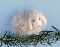 Tiny Felt Sheep - neddle felted wool Brooch or magnet