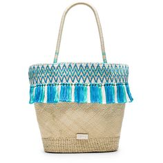 Caffe Beach Bag (2,680 GTQ) ❤ liked on Polyvore featuring bags, handbags, clear handbags purses, white purse, handbags purses, tassel purse and fringe handbags