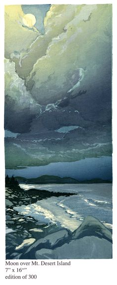 Moon over Mt Desert Island by Matt Brown - I love this work. The size, the colours, the composition and the content. S