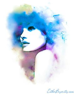 Esther Bayer Abstract Violet and Blue Hues Fashion Illustration Watercolor Print
