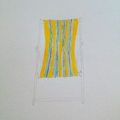 Summer!  #summer #chair #stripes #beach #pencilsketch #art #watercolor #illustration