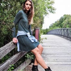 NYTT Green Turtle Neck Long Sleeve T-shirt Dress Designer carried by Anthropologie. Ultra soft turtle neck t-shirt dress is the perfect fall essential. Its perfect on its own for those warm fall days or layer with your other fall staples as the temperature drops. Light distressing gives this dress a nice worn it look and feel. Custom dying process makes every piece unique. By NYTT.  100% rayon Lightly distressed Hand wash cold Available in size 0 (XS/S) / 1 (SM/MED)  Love the item but not…