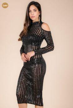 """432840059758 IvyGlam """"Jenelle"""" Sequins Bengal Striped Cold Shoulder Dress"""