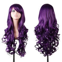 "Cozyswan® 32"" 80cm lange große welliges Haar hitzebeständige Spirale geschweiften Cosplay Kostüm Perücke versandkostenfrei + gratis Wig Cap (lila): Amazon.de: Baumarkt"