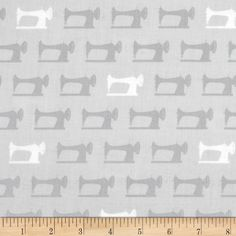 Sewing Studio Sewing Machines Grey from @fabricdotcom  Designed by Cynthia Frenette for Robert Kaufman, this cotton print is perfect for quilting, apparel and home décor accents. Colors include grey and white.