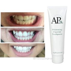 AP 24 Whitening Toothpaste Who wants whiter teeth? This stuff is awesome! This is a whitening toothpaste that contains NO bleach, No peroxide, is great for sensitive teeth, braces, and even kids! Results in as little as 3 days! Ap 24 Whitening Toothpaste, Whitening Fluoride Toothpaste, Best Teeth Whitening Kit, Teeth Whitening Remedies, Skin Whitening, Nu Skin, White Teeth, Deodorant, Body Care