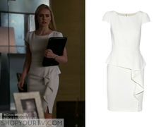 Katrina Bennett (Amanda Schull) wears this white ruffle front dress in this week's episode of Suits It is the EMILIO PUCCI Stretch-wool crepe peplum mini dress. Buy it HERE for $1950
