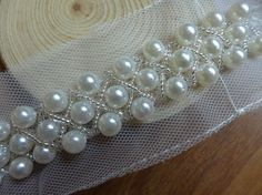 Beaded Trim, Ivory Pearl Beaded Lace, Beaded Bridal Sashes, Wedding Belt Supply    ◆ This listing is for 1 Yard. ◆ Measuring is about 1.97 (5 cm)