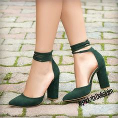 412cc90abc32 Artu – Suede green drawstring with thick heel –   drawstring   Suede Green  Women wedding shoes   bridal shoes .