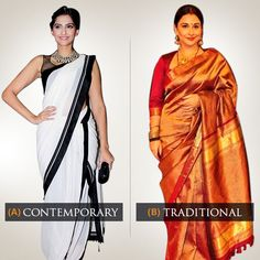 #Contemporary or #Traditional?  The #saree takes on different avatars! What's the look that appeals to you? Comment for your favorite!