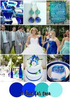 Cobalt and Aqua Shades of Blue Wedding Color Scheme - Bright Weddings - Summer Wedding - Destination Wedding - A Hue For Two   http://www.ahuefortwo.com