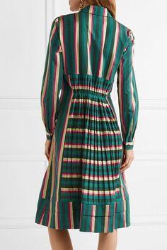 Etro - Pleated Striped Cotton-blend Dress - Green - IT38