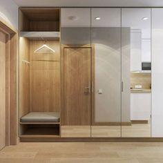 Studio apartment: interior design - New Deko Sites Flur Design, Hall Design, Hallway Designs, Closet Designs, Apartment Interior, Interior Design Living Room, Design Apartment, Home Entrance Decor, Home Decor