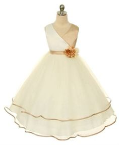 Flower Girl Dress Vneck Satin Bodice and Tulle Layered Girls Skirt Party Dress Special Occasion Dress Little Girl Pageant Dresses, Girls Holiday Dresses, Girls Special Occasion Dresses, Wedding Flower Girl Dresses, Girls Party Dress, Girls Dresses, Flower Girls, Dress Girl, Wedding Gowns