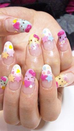 nail art designs braid fashion makeup Hello Kitty Nail Art Designs dont like round chic nails but I love the idea Latest Nail Designs, Cute Nail Designs, Acrylic Nail Designs, Acrylic Nails, Pastel Nails, Kawaii Nail Art, Cute Nail Art, Essie, Pedicure