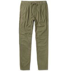 Contemporary Japanese brand <a href='http://www.mrporter.com/mens/Designers/Nonnative'>nonnative</a> is adept at reworking classic workwear styles with fine fabrics and clean cuts. Designed in a utility-inspired army-green shade, these 'Farmer' trousers are made from a blend of cotton and wool with a brushed finish for a soft, thick handle. They have a slim-tapered leg, lightly pleated front and flexible elasticated drawstring waist. Wear yours with a printed tee and sneakers.