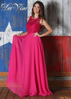 Looking for a way to create mismatched bridesmaid dresses? DaVinci Spring 15 Style 60192 might fit your bridal party vision. Shown in fuchsia lace and chiffon, create different bridesmaid dresses looks when you choose any combo of our 10+ lace & 50+ chiffon shades. One of our more romantic bridesmaid dresses, this gown has a lace illusion bodice with portrait neckline and spaghetti straps down the open back. The A line skirt starts at the natural waist and flows effortlessly to the floor.
