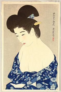 Yukata, first series of modern Beauties  by Ito Shinsui, 1929