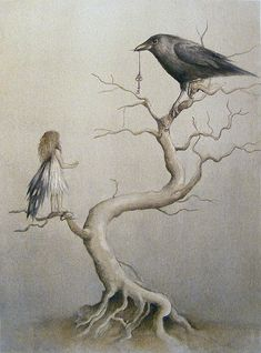 I just read a news story where crows bring trinkets to a little girl who feeds them. This is a lovely illustration of that truth. (fairy and the crow) Art And Illustration, Quoth The Raven, Crows Ravens, Photo D Art, Wow Art, Fairy Art, Magical Creatures, Troll, Fantasy Art