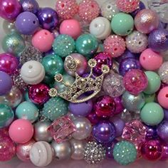 Princess Party Theme Bulk Mix of 20mm Bubblegum Beads in Pink, Purple, Silver, Mint & Crown Pendant