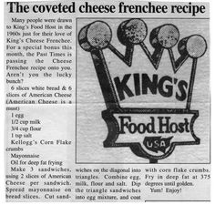 King's Cheese Frenchee Recipe. One Of The Best Sandwiches In The State of Iowa!… King's Cheese Frenchee Recipe. One Of The Best Sandwiches In The State of Iowa! Recipes From the Lovely State of Iowa. Retro Recipes, Vintage Recipes, New Recipes, Cooking Recipes, Favorite Recipes, Wrap Recipes, Yummy Recipes, Dinner Recipes