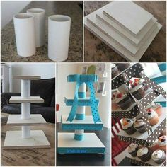 DIY Custom cupcake stand - see photo for credit and page of designer Dyi Cupcake Stand, Cupcake Towers, Candy Table, Candy Buffet, Dessert Table, Diy Cake, Baby Party, Diy And Crafts, Diy Projects