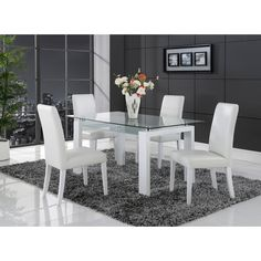 White Solid Wood Glass-top Dining Table | Overstock™ Shopping - Great Deals on Dining Tables