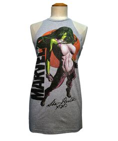 MARVEL CUSTOM CUT T-SHIRT - SHE HULK PINUP RED SUN | Jack of all Trades Clothing - Superhero / comic book t-shirts